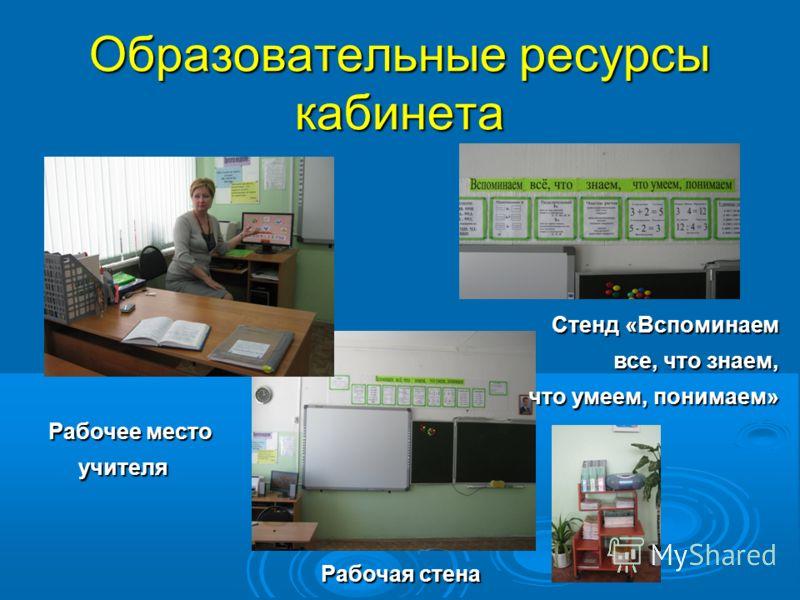 Образовательные ресурсы кабинета Стенд «Вспоминаем все, что знаем, что умеем, понимаем» Рабочее место Рабочее место учителя учителя Рабочая стена