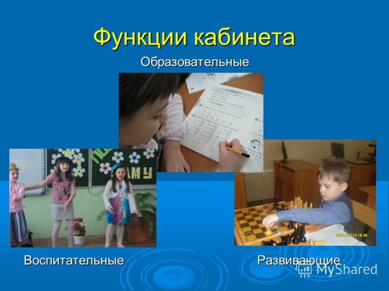 Функции кабинета Образовательные Воспитательные Развивающие