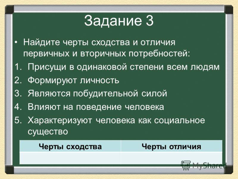 Задание 3 Найдите черты сходства и отличия первичных и вторичных потребностей: 1.Присущи в одинаковой степени всем людям 2.Формируют личность 3.Являются побудительной силой 4.Влияют на поведение человека 5.Характеризуют человека как социальное сущест