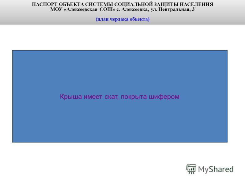 ПАСПОРТ ОБЪЕКТА СИСТЕМЫ СОЦИАЛЬНОЙ ЗАЩИТЫ НАСЕЛЕНИЯ МОУ «Алексеевская СОШ» с. Алексеевка, ул. Центральная, 3 (план чердака объекта) ПАСПОРТ ОБЪЕКТА СИСТЕМЫ СОЦИАЛЬНОЙ ЗАЩИТЫ НАСЕЛЕНИЯ МОУ «Алексеевская СОШ» с. Алексеевка, ул. Центральная, 3 (план чер