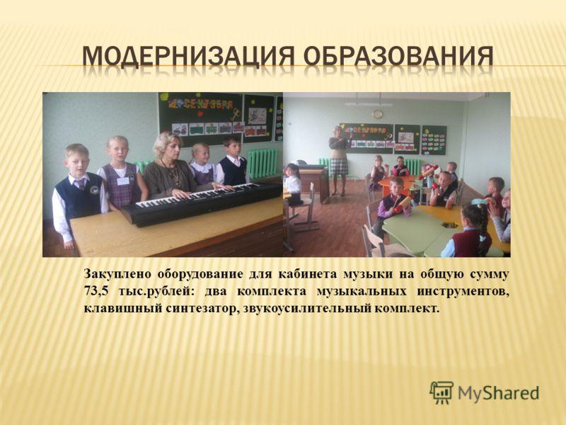 Закуплено оборудование для кабинета музыки на общую сумму 73,5 тыс.рублей: два комплекта музыкальных инструментов, клавишный синтезатор, звукоусилительный комплект.