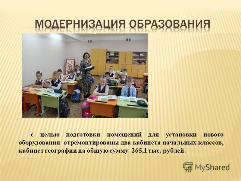 с целью подготовки помещений для установки нового оборудования отремонтированы два кабинета начальных классов, кабинет географии на общую сумму 265,1 тыс. рублей.