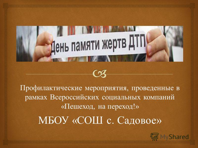 Профилактические мероприятия, проведенные в рамках Всероссийских социальных компаний « Пешеход, на переход !» МБОУ « СОШ с. Садовое »