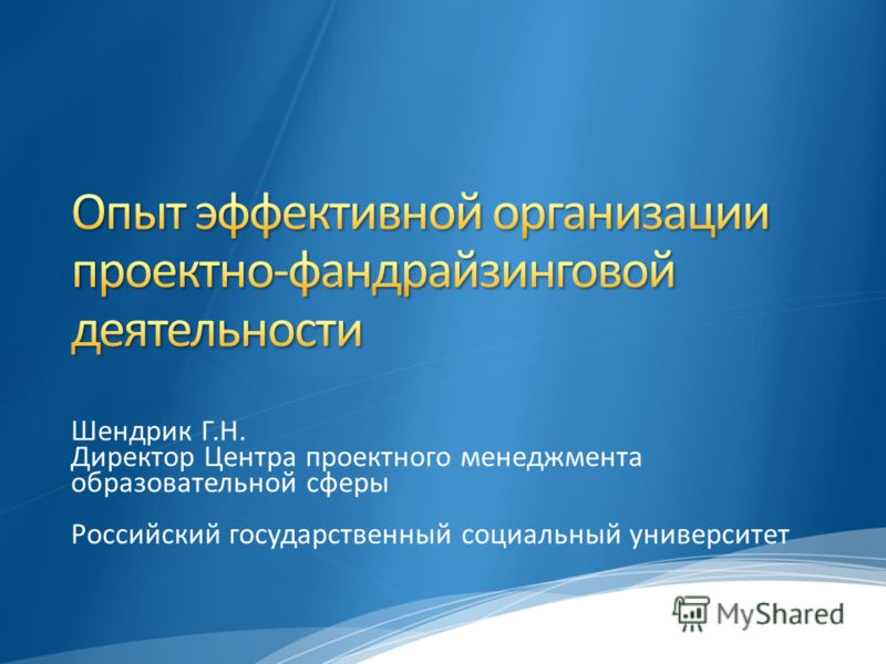Шендрик Г.Н. Директор Центра проектного менеджмента образовательной сферы Российский государственный социальный университет