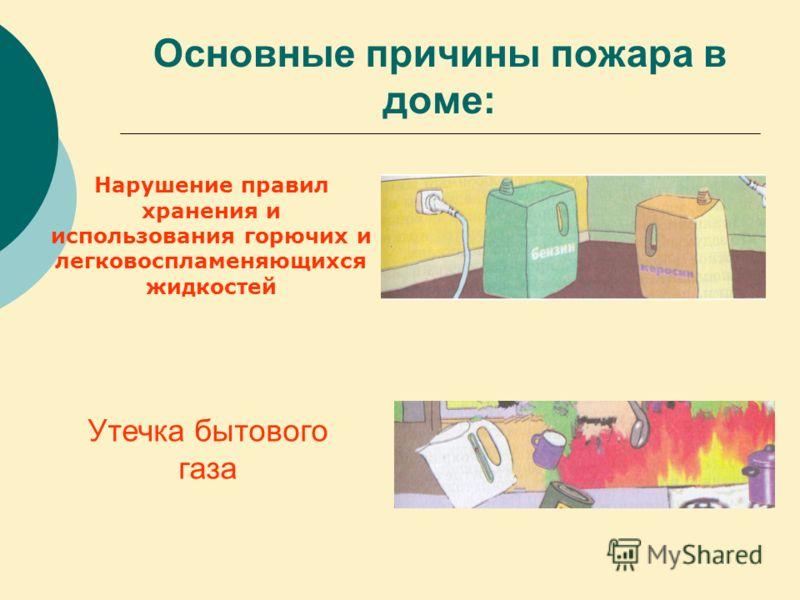 Основные причины пожара в доме: Нарушение правил хранения и использования горючих и легковоспламеняющихся жидкостей Утечка бытового газа