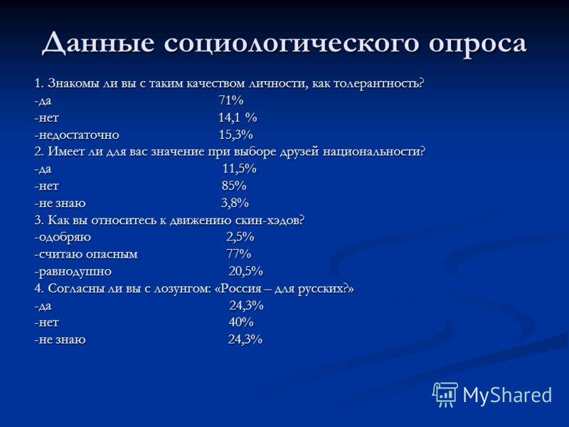 Данные социологического опроса 1. Знакомы ли вы с таким качеством личности, как толерантность? -да 71% -нет 14,1 % -недостаточно 15,3% 2. Имеет ли для вас значение при выборе друзей национальности? -да 11,5% -нет 85% -не знаю 3,8% 3. Как вы относитес
