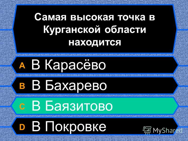 Самая высокая точка в Курганской области находится A В Карасёво B В Бахарево C В Баязитово D В Покровке
