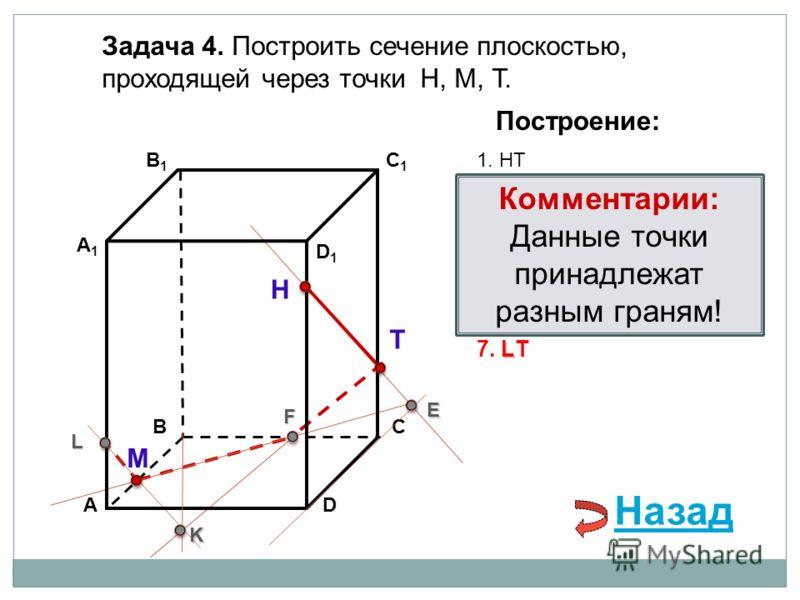 АD В1В1 ВС А1А1 C1C1 D1D1 Задача 4. Построить сечение плоскостью, проходящей через точки Н, М, Т. Н Т М Построение: 1. НТ 2. НТ DС = E E 3. ME ВС = F F F 4. ТF F В 1 В = K 5. ТF В 1 В = K K K АА 1 = L 6. МK АА 1 = L L L 7. LТ Комментарии: Данные точк
