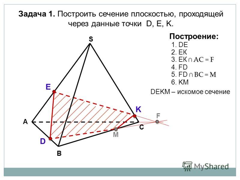 А В С S Задача 1. Построить сечение плоскостью, проходящей через данные точки D, Е, K. D E K M F Построение: 2. ЕК АС = F 3. ЕК АС = F 4. FD BС = M 5. FD BС = M 6. KM 1. DE DЕKМ – искомое сечение