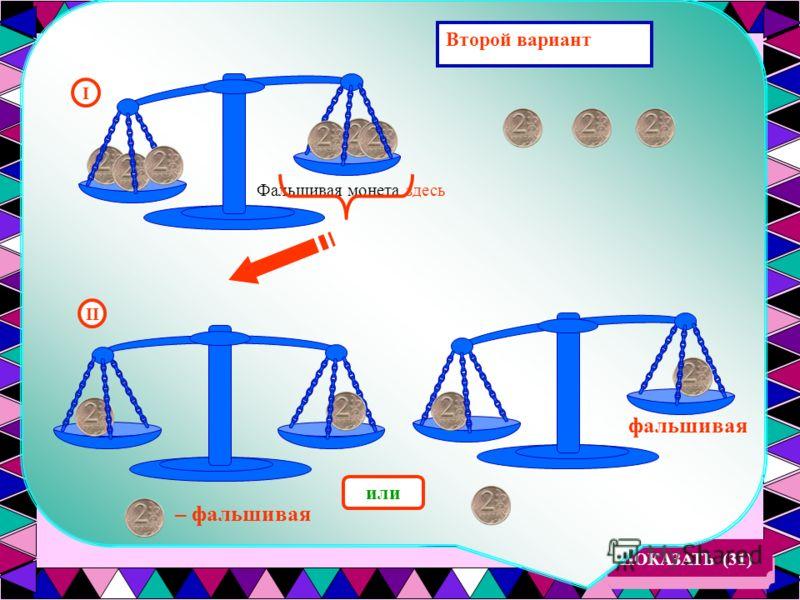 Из 9 монет, одинаковых с виду, одна фальшивая: она легче остальных. Как найти фальшивую монету с помощью двух взвешиваний на чашечных весах без гирь? ПОКАЗАТЬ (31) Первый вариант I Весы в равновесии Фальшивая монета здесь II – фальшивая или фальшивая