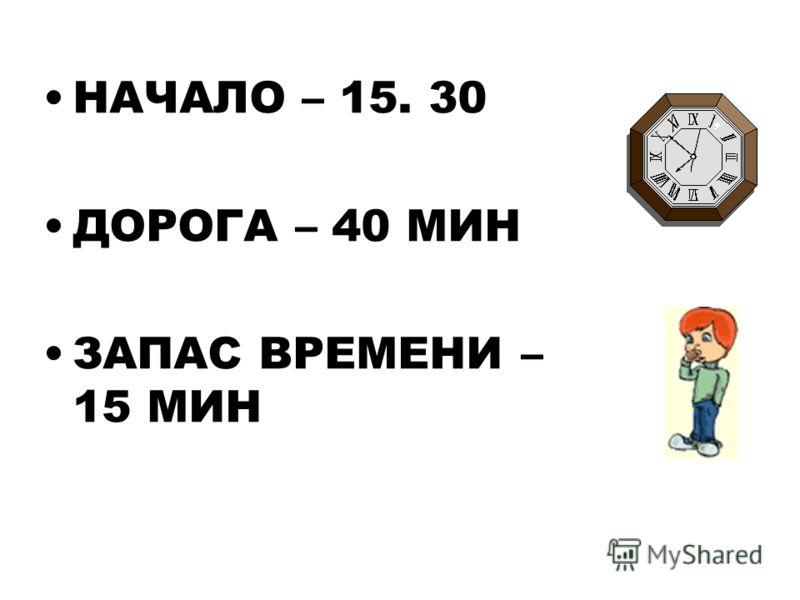 НАЧАЛО – 15. 30 ДОРОГА – 40 МИН ЗАПАС ВРЕМЕНИ – 15 МИН