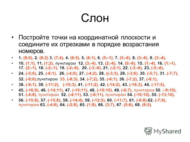 Слон Постройте точки на координатной плоскости и соедините их отрезками в порядке возрастания номеров. 1. (8;0), 2. (8;2) 3. (7;4), 4. (6;5), 5. (6;1), 6. (5;-1), 7. (5;-6), 8. (3;-6), 9. (3;-4), 10. (1;1), 11. (1;2), пунктиром 12. (3;-4), 13. (2;-6)
