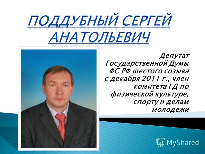 Депутат Государственной Думы ФС РФ шестого созыва с декабря 2011 г., член комитета ГД по физической культуре, спорту и делам молодежи
