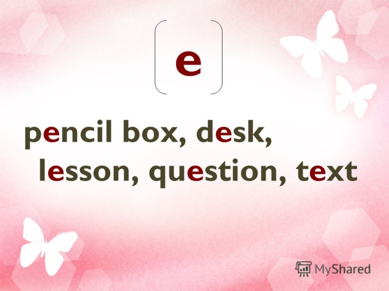 e pencil box, desk, lesson, question, text