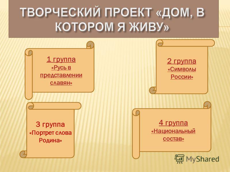 2 группа «Символы России» 3 группа «Портрет слова Родина» 1 группа «Русь в представлении славян» 4 группа «Национальный состав»