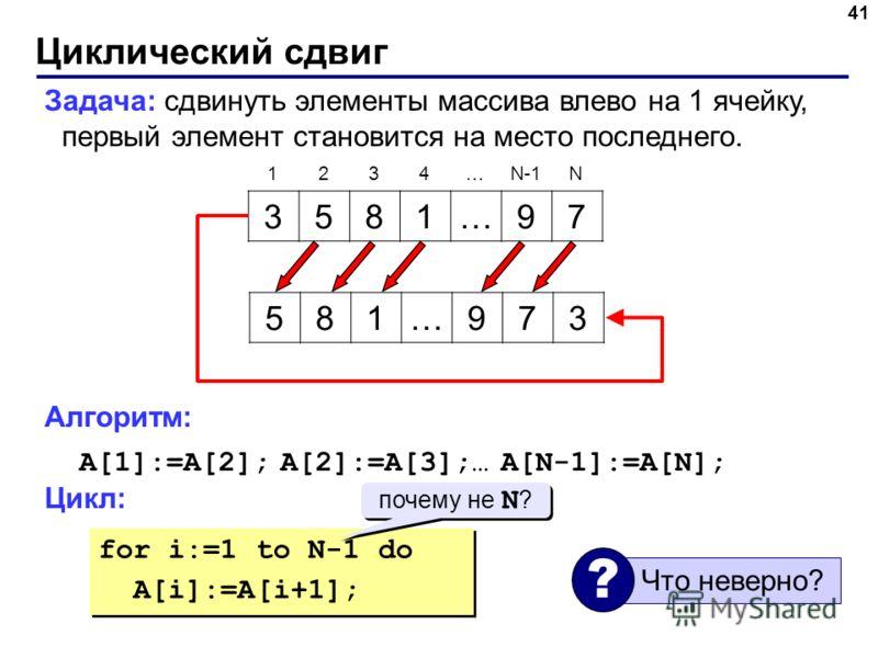 Циклический сдвиг 41 Задача: сдвинуть элементы массива влево на 1 ячейку, первый элемент становится на место последнего. Алгоритм: A[1]:=A[2]; A[2]:=A[3];… A[N-1]:=A[N]; Цикл: 3581…97 1234…N-1N 581…973 for i:=1 to N-1 do A[i]:=A[i+1]; for i:=1 to N-1