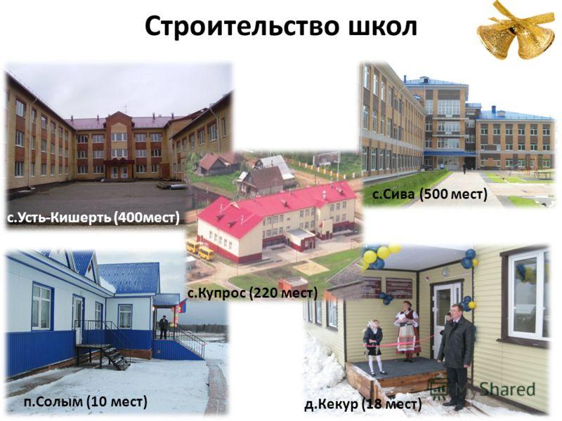 Строительство школ п.Солым (10 мест) с.Сива (500 мест) с.Усть-Кишерть (400мест) д.Кекур (18 мест) с.Купрос (220 мест)