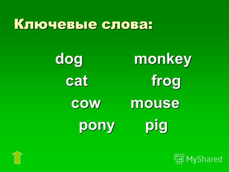 Ключевые слова: dog monkey dog monkey cat frog cat frog cow mouse cow mouse pony pig pony pig
