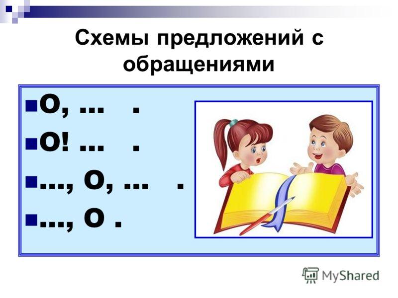 Схемы предложений с обращениями О, …. О! …. …, О, …. …, О.