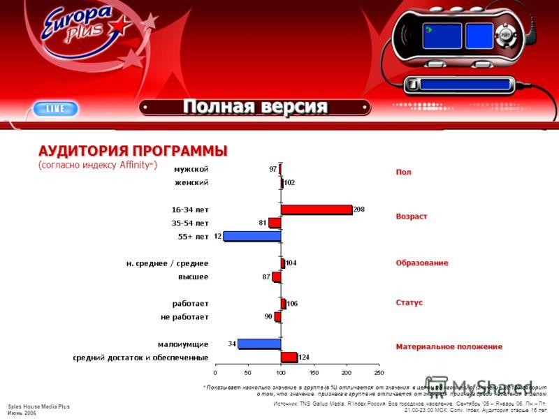 Sales House Media Plus Июнь 2006 Источник: TNS Gallup Media. RIndex Россия. Все городское население. Сентябрь 05 – Январь 06. Пн – Пт. 21.00-23.00 МСК. Conv. Index. Аудитория старше 16 лет АУДИТОРИЯ ПРОГРАММЫ (согласно индексу Affinity * ) Возраст Ма