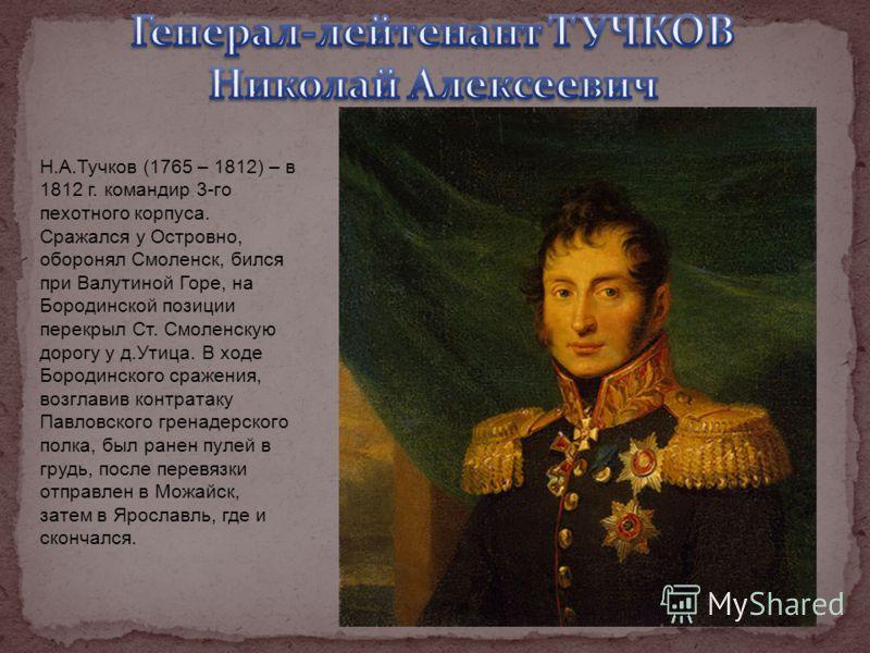 Н.А.Тучков (1765 – 1812) – в 1812 г. командир 3-го пехотного корпуса. Сражался у Островно, оборонял Смоленск, бился при Валутиной Горе, на Бородинской позиции перекрыл Ст. Смоленскую дорогу у д.Утица. В ходе Бородинского сражения, возглавив контратак