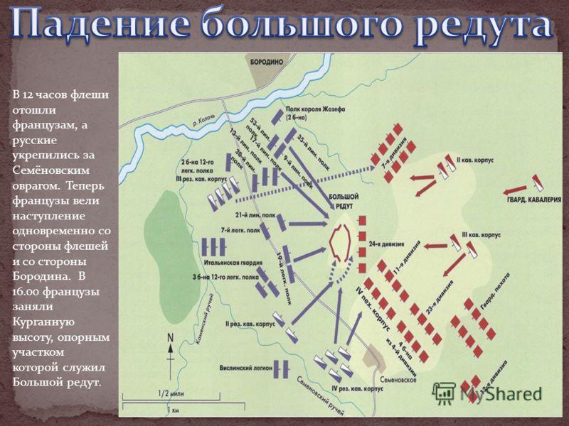 В 12 часов флеши отошли французам, а русские укрепились за Семёновским оврагом. Теперь французы вели наступление одновременно со стороны флешей и со стороны Бородина. В 16.00 французы заняли Курганную высоту, опорным участком которой служил Большой р