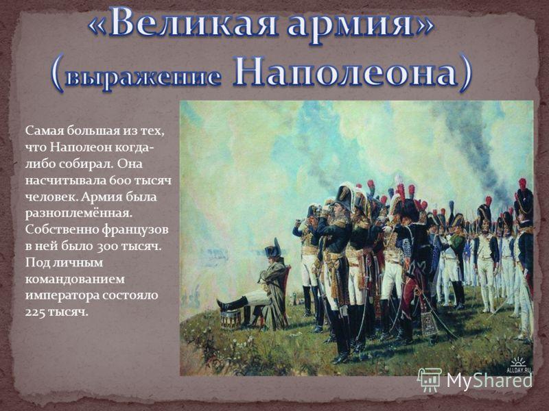 Самая большая из тех, что Наполеон когда- либо собирал. Она насчитывала 600 тысяч человек. Армия была разноплемённая. Собственно французов в ней было 300 тысяч. Под личным командованием императора состояло 225 тысяч.