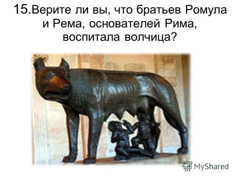 15. Верите ли вы, что братьев Ромула и Рема, основателей Рима, воспитала волчица?