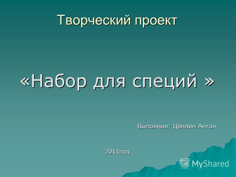 Творческий проект «Набор для специй » Выполнил: Цаплин Антон 2011год