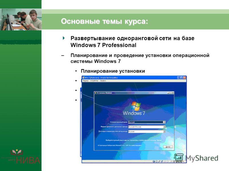 Основные темы курса: Развертывание одноранговой сети на базе Windows 7 Professional –Планирование и проведение установки операционной системы Windows 7 Планирование установки Разбиение жесткого диска на разделы Выбор файловой системы Выбор способа ус