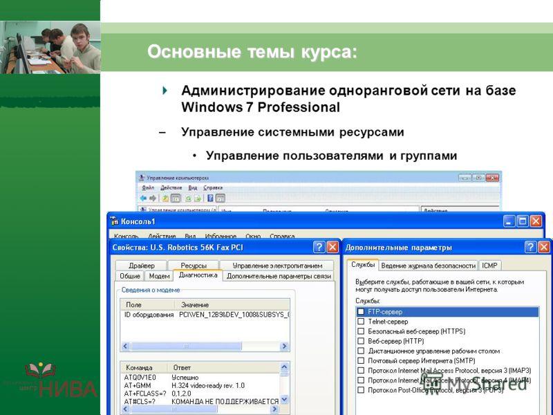 Основные темы курса: Администрирование одноранговой сети на базе Windows 7 Professional –Управление системными ресурсами Управление пользователями и группами Управление дисками и файловыми ресурсами Аудит ресурсов и событий Общий доступ к сети Интерн