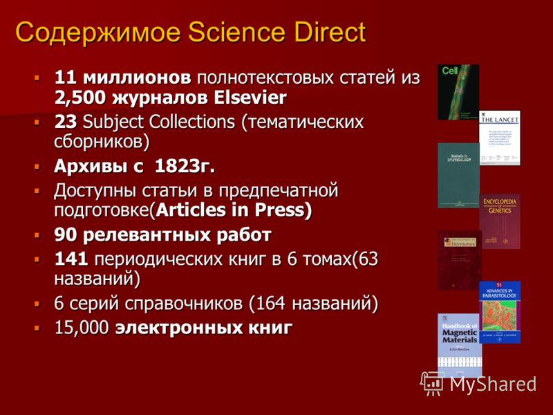 Содержимое Science Direct 11 миллионов полнотекстовых статей из 2,500 журналов Elsevier 11 миллионов полнотекстовых статей из 2,500 журналов Elsevier 23 Subject Collections (тематических сборников) 23 Subject Collections (тематических сборников) Архи