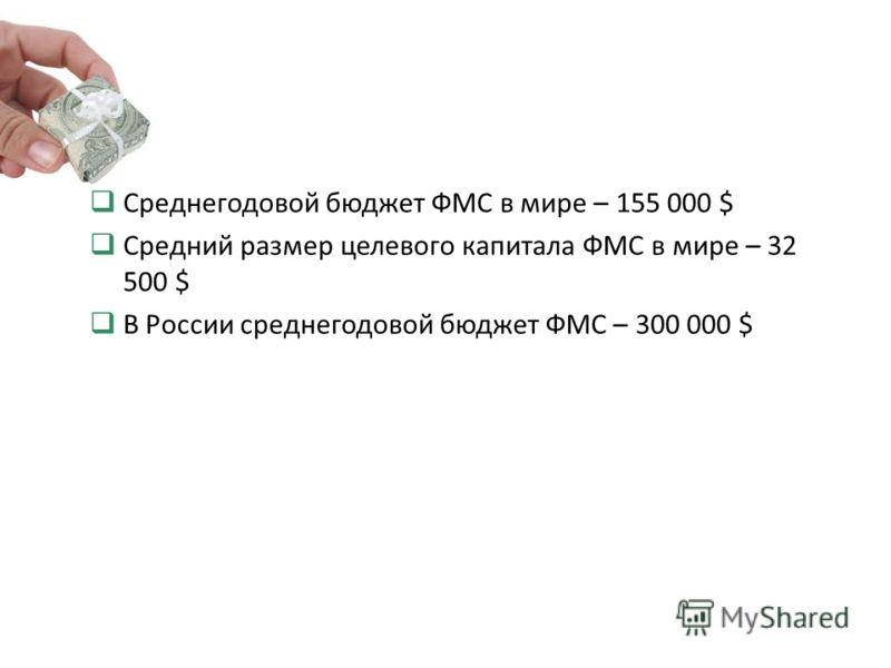 Среднегодовой бюджет ФМС в мире – 155 000 $ Средний размер целевого капитала ФМС в мире – 32 500 $ В России среднегодовой бюджет ФМС – 300 000 $