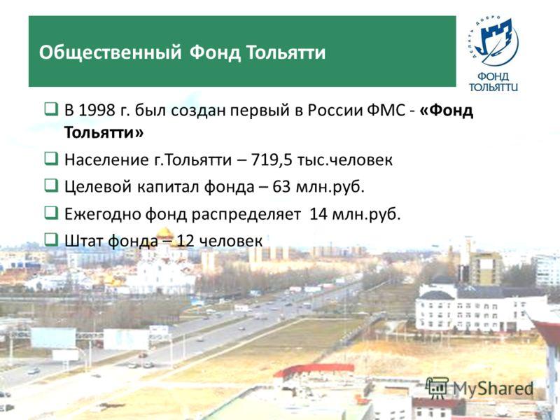 В 1998 г. был создан первый в России ФМС - «Фонд Тольятти» Население г.Тольятти – 719,5 тыс.человек Целевой капитал фонда – 63 млн.руб. Ежегодно фонд распределяет 14 млн.руб. Штат фонда – 12 человек Общественный Фонд Тольятти