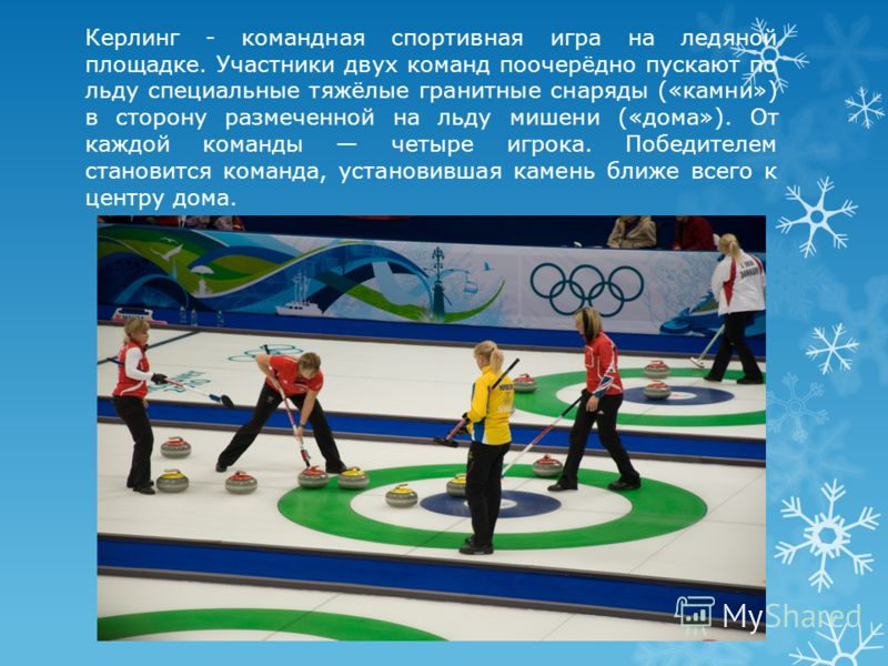 Керлинг - командная спортивная игра на ледяной площадке. Участники двух команд поочерёдно пускают по льду специальные тяжёлые гранитные снаряды («камни») в сторону размеченной на льду мишени («дома»). От каждой команды четыре игрока. Победителем стан