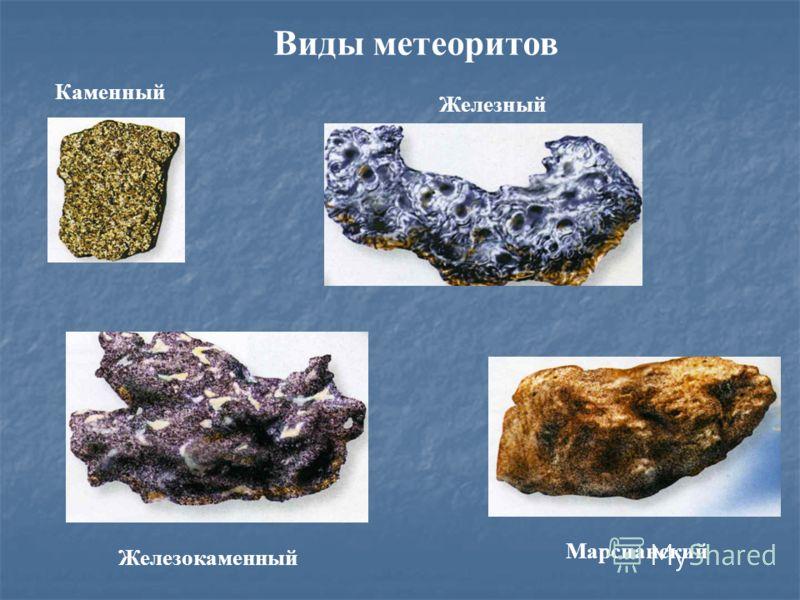 Виды метеоритов Каменный Железный Железокаменный Марсианский