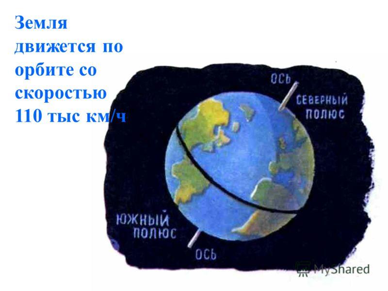 Земля движется по орбите со скоростью 110 тыс км/ч