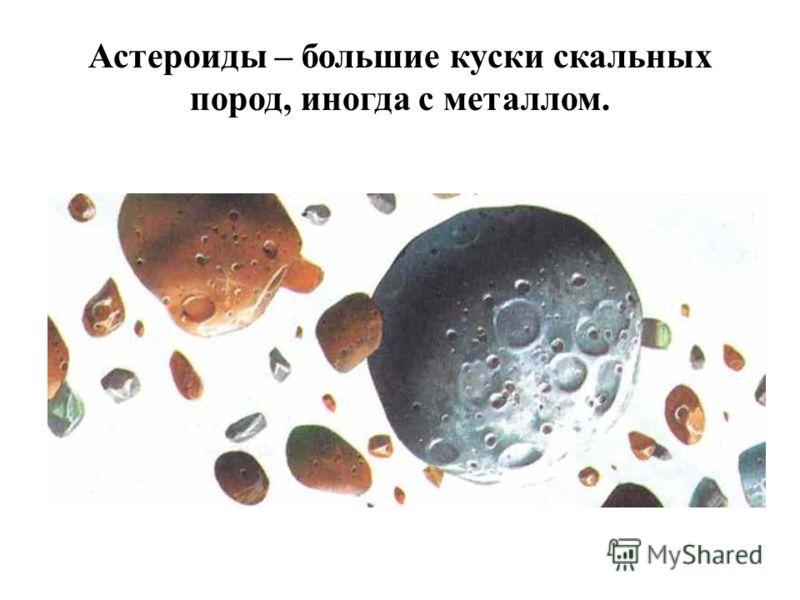 Астероиды – большие куски скальных пород, иногда с металлом.