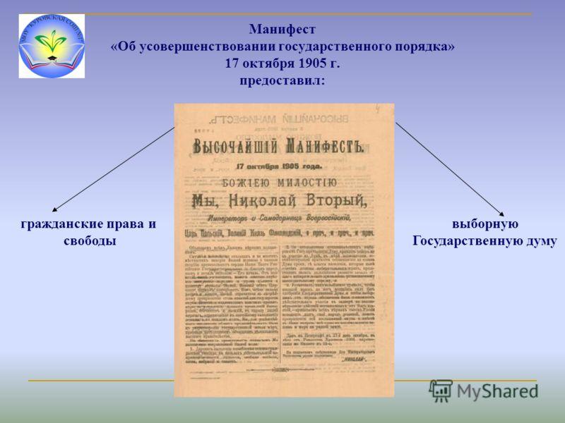 Манифест «Об усовершенствовании государственного порядка» 17 октября 1905 г. предоставил: гражданские права и свободы выборную Государственную думу