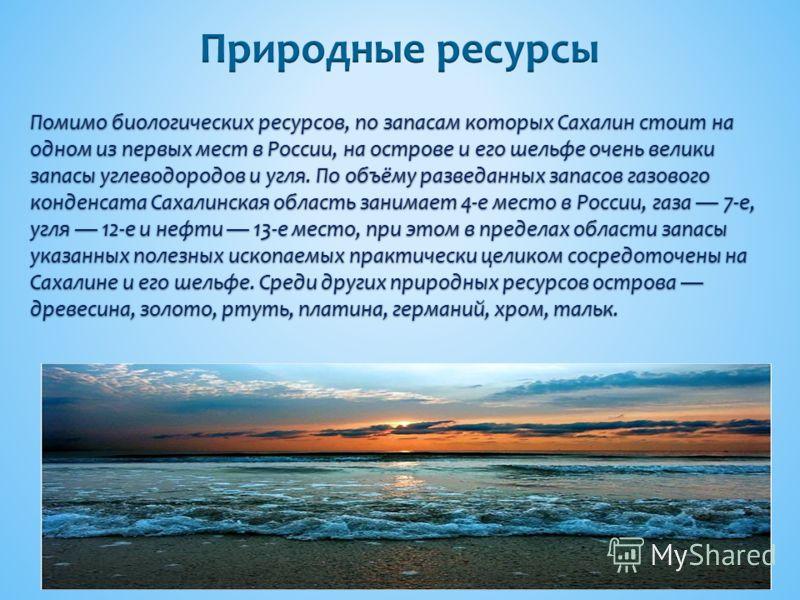 Помимо биологических ресурсов, по запасам которых Сахалин стоит на одном из первых мест в России, на острове и его шельфе очень велики запасы углеводородов и угля. По объёму разведанных запасов газового конденсата Сахалинская область занимает 4-е мес