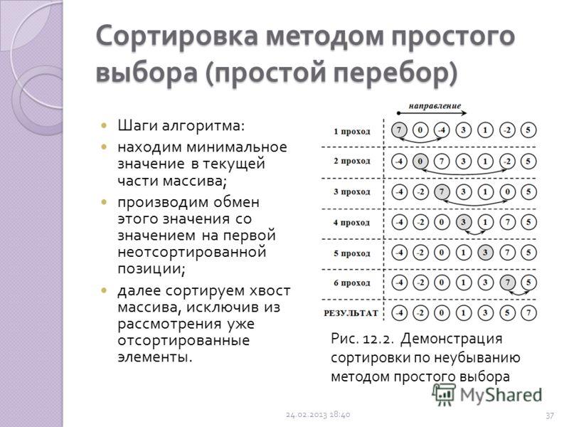 Сортировка методом простого выбора ( простой перебор ) Это наиболее естественный алгоритм упорядочивания. При данной сортировке из массива выбирается элемент с наименьшим значением и обменивается с первым элементом. Затем из оставшихся n - 1 элементо