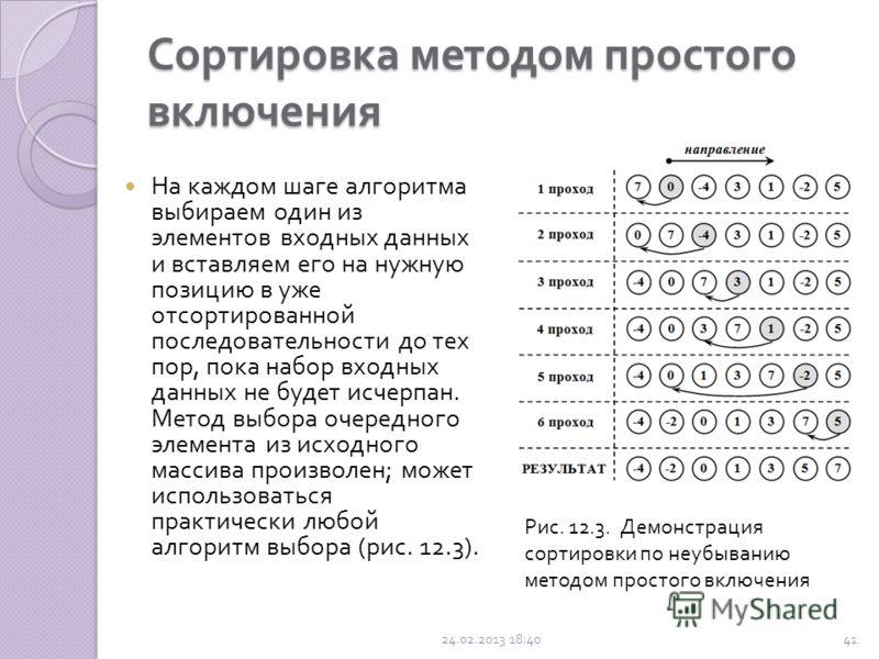 Сортировка методом простого включения ( сдвиг - вставка, вставками, вставка и сдвиг ) Хотя этот метод сортировки намного менее эффективен, чем сложные алгоритмы ( такие как быстрая сортировка ), у него есть ряд преимуществ : прост в реализации ; эффе