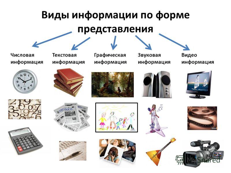 Виды информации по форме представления Числовая информация Текстовая информация Графическая информация Звуковая информация Видео информация