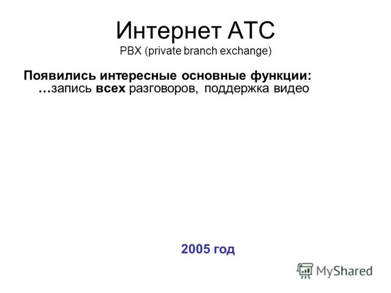 Интернет АТС PBX (private branch exchange) Появились интересные основные функции: …запись всех разговоров, поддержка видео 2005 год