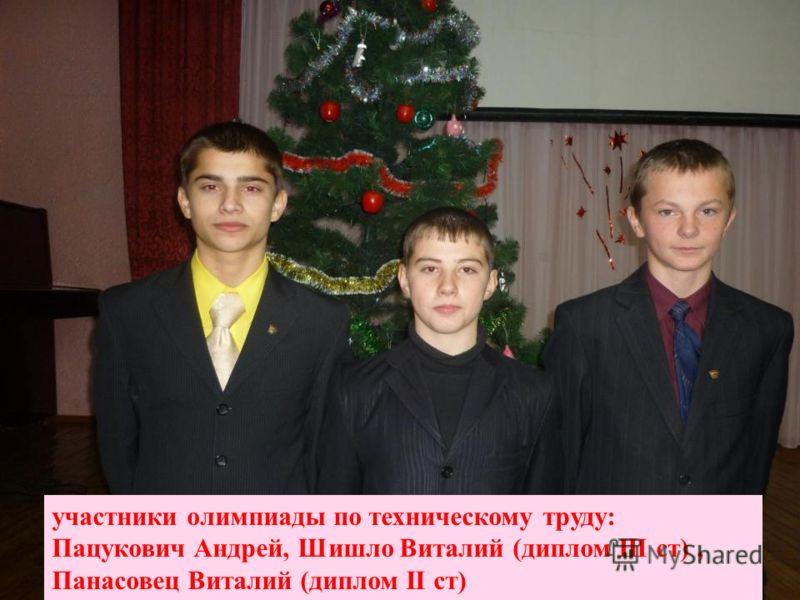 участники олимпиады по техническому труду: Пацукович Андрей, Шишло Виталий (диплом III ст), Панасовец Виталий (диплом II ст)