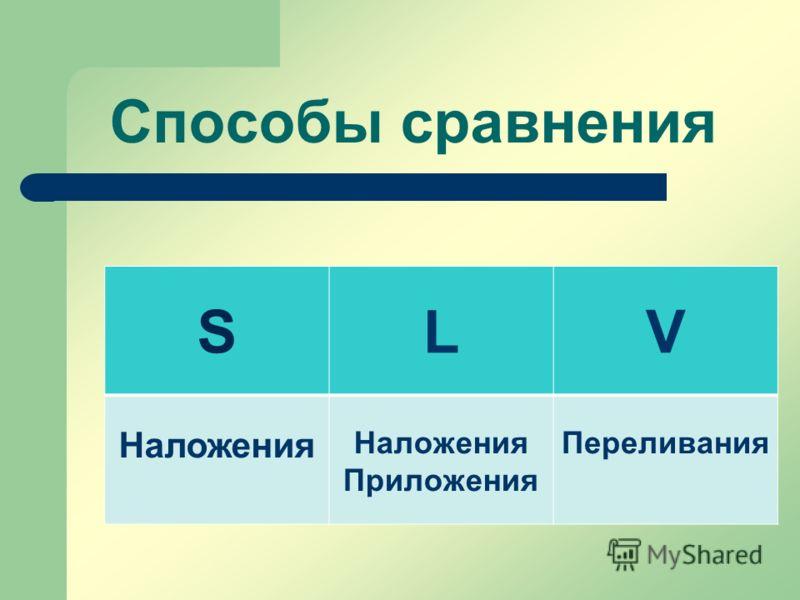 Способы сравнения SLV Наложения Наложения Приложения Переливания