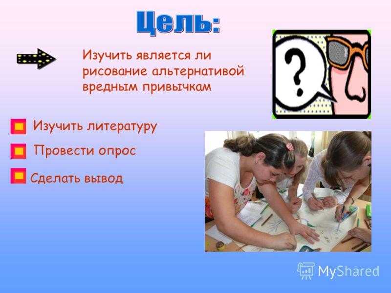 Изучить является ли рисование альтернативой вредным привычкам Изучить литературу Провести опрос Сделать вывод