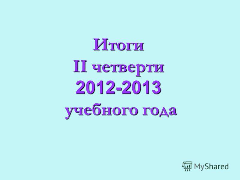Итоги II четверти 2012-2013 учебного года