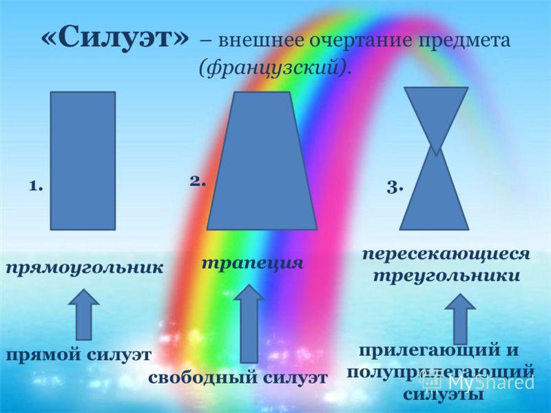 «Силуэт» – внешнее очертание предмета (французский). прямоугольник трапеция пересекающиеся треугольники прямой силуэт свободный силуэт прилегающий и полуприлегающий силуэты 1. 2. 3.