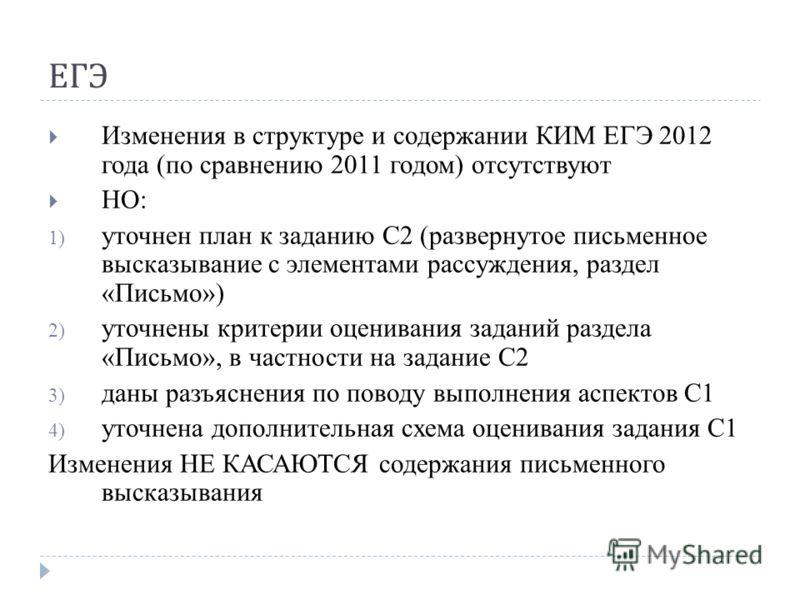 ЕГЭ Изменения в структуре и содержании КИМ ЕГЭ 2012 года (по сравнению 2011 годом) отсутствуют НО: 1) уточнен план к заданию С2 (развернутое письменное высказывание с элементами рассуждения, раздел «Письмо») 2) уточнены критерии оценивания заданий ра